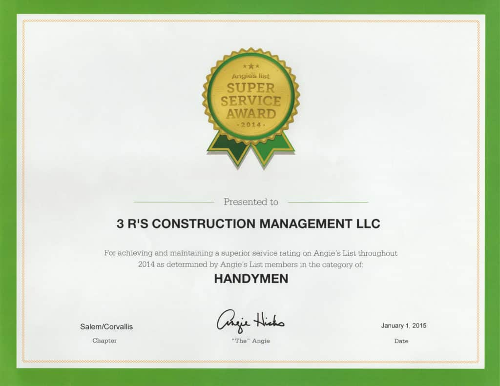 3Rs Construction in Salem Oregon Angie's List Handymen Award