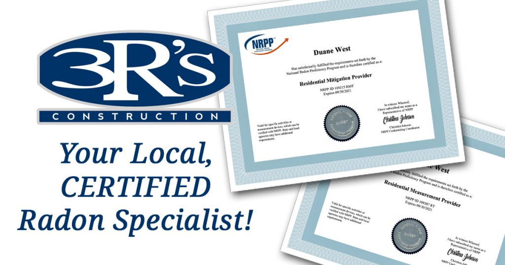 3Rs Construction Radon Certified Salem Oregon