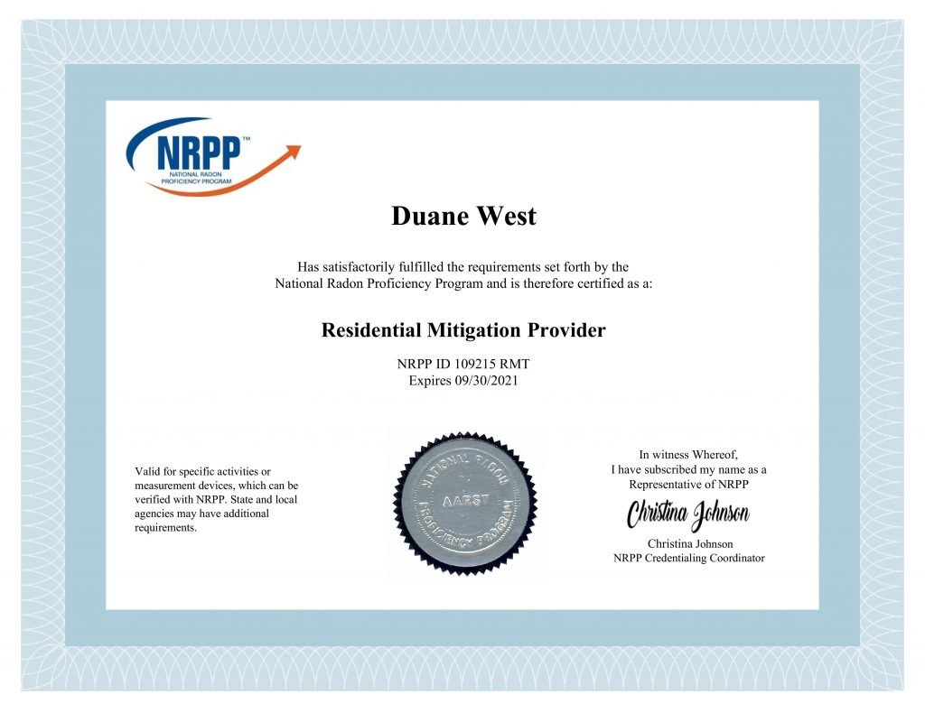 NRPP Radon Mitigation Provider Duane from 3Rs Construction