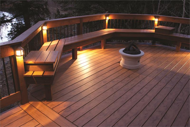 Deck light and seating