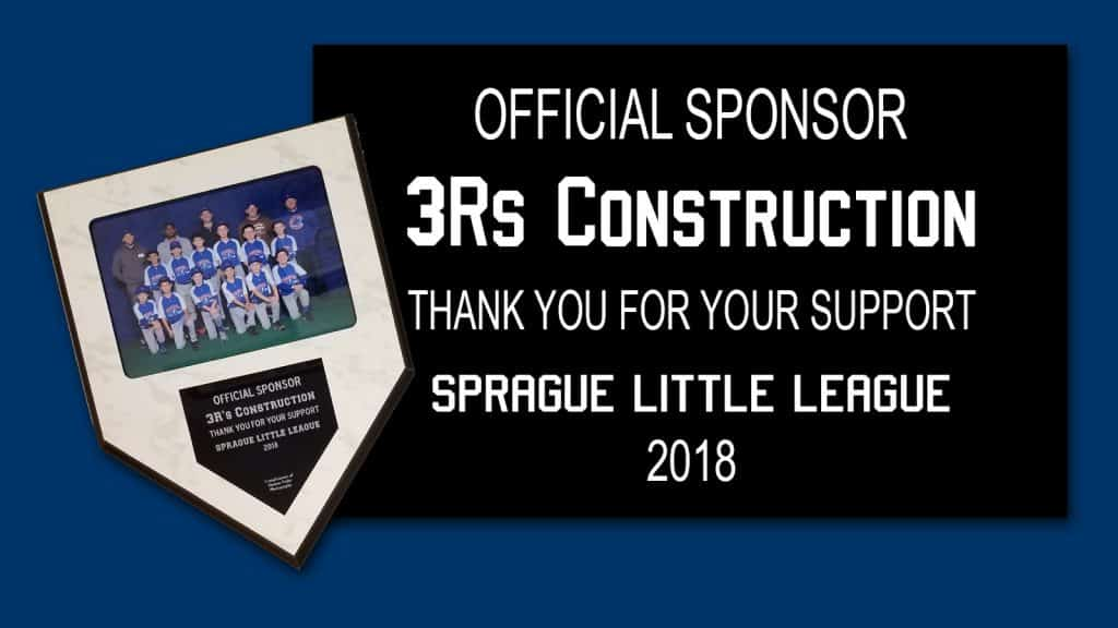 3Rs Construction Little League Sponsor