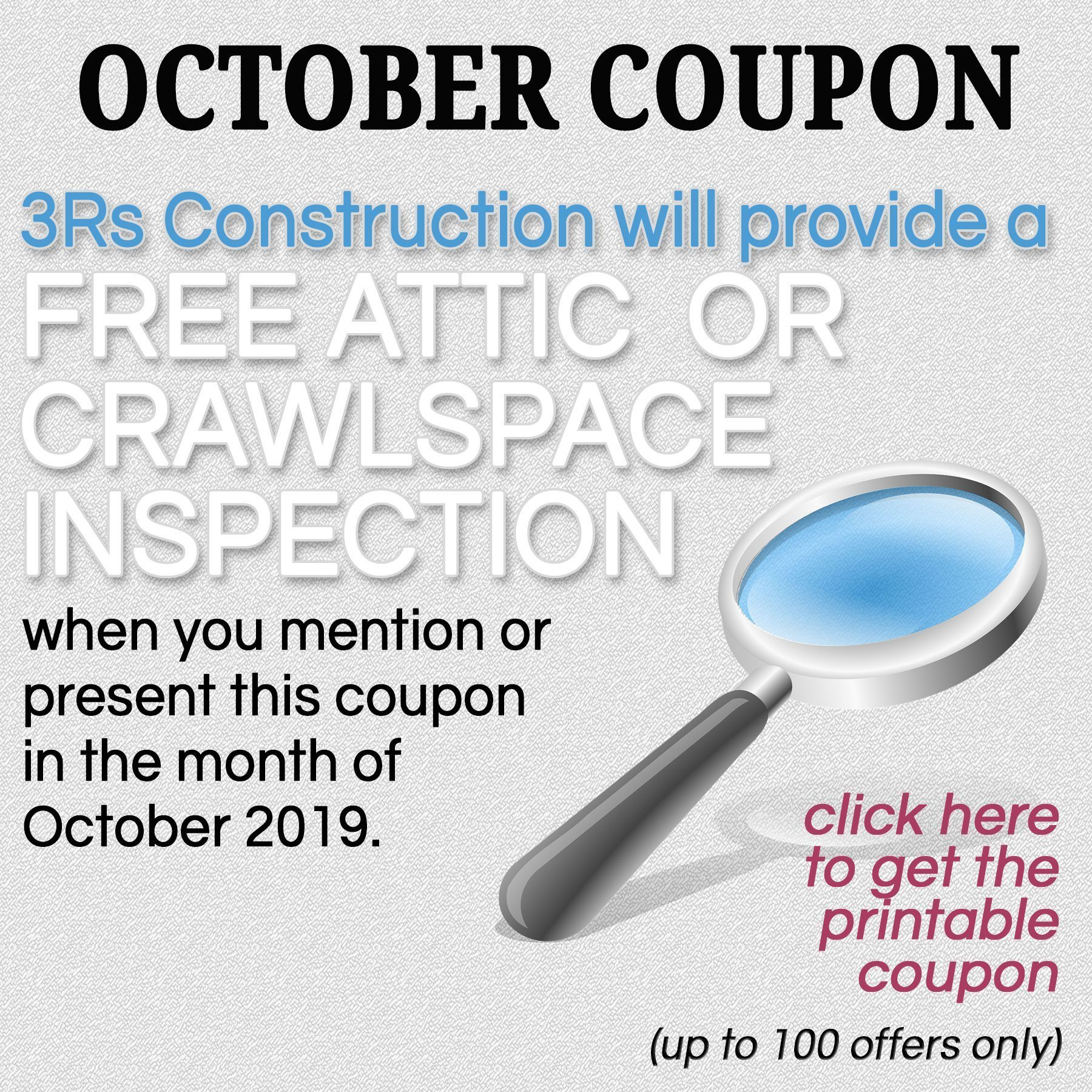 3Rs Home Tips Coupon for Attic and Crawlspace Inspection